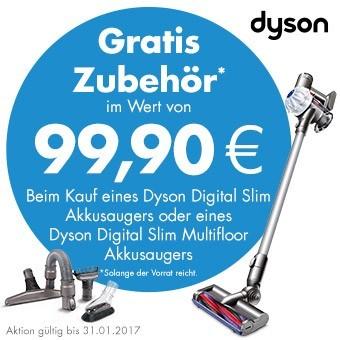 Gratis Zubehör im Wert von 99,90 € beim Kauf eines Dyson Digital Slim Akkusaugers oder eines Dyson Digital Slim Multifloor Akkusaugers.