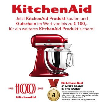 Jetzt KitchenAid Produkt kaufen und Gutschein im Wert von bis zu € 100,- für ein weiteres KitchenAid Produkt sichern!