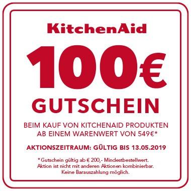 Jetzt KitchenAid Produkt ab € 549,- kaufen und Gutschein im Wert von € 100,- für ein weiteres KitchenAid Produkt sichern!