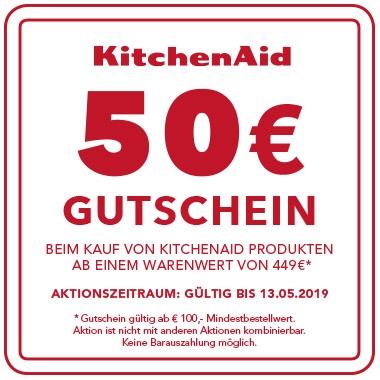 Jetzt KitchenAid Produkt ab € 449,- kaufen und Gutschein im Wert von € 50,- für ein weiteres KitchenAid Produkt sichern!