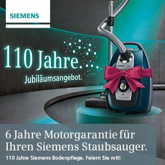 6 Jahre Motorgarantie für Ihren Siemens Staubsauger.