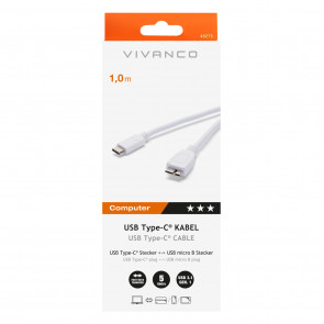 VIVANCO USB Typ C Adapter-Kabel 1m weiß