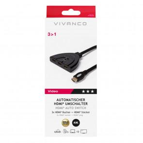 VIVANCO Auto HDMI 3 in 1 Umschalter 0,8m