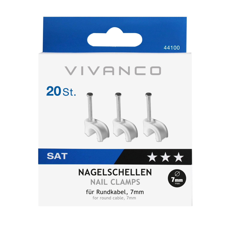 VIVANCO Nagelschellen für Rundkabel VIVANCO 44100 STM NS20-N