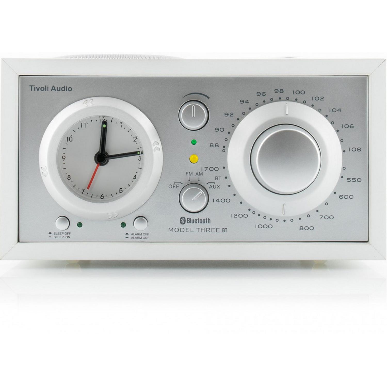 tivoli audio model three bt white silver radiowecker am fm. Black Bedroom Furniture Sets. Home Design Ideas